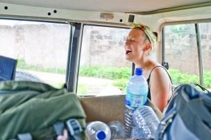 Cameron hitching a ride to Brikama Ba